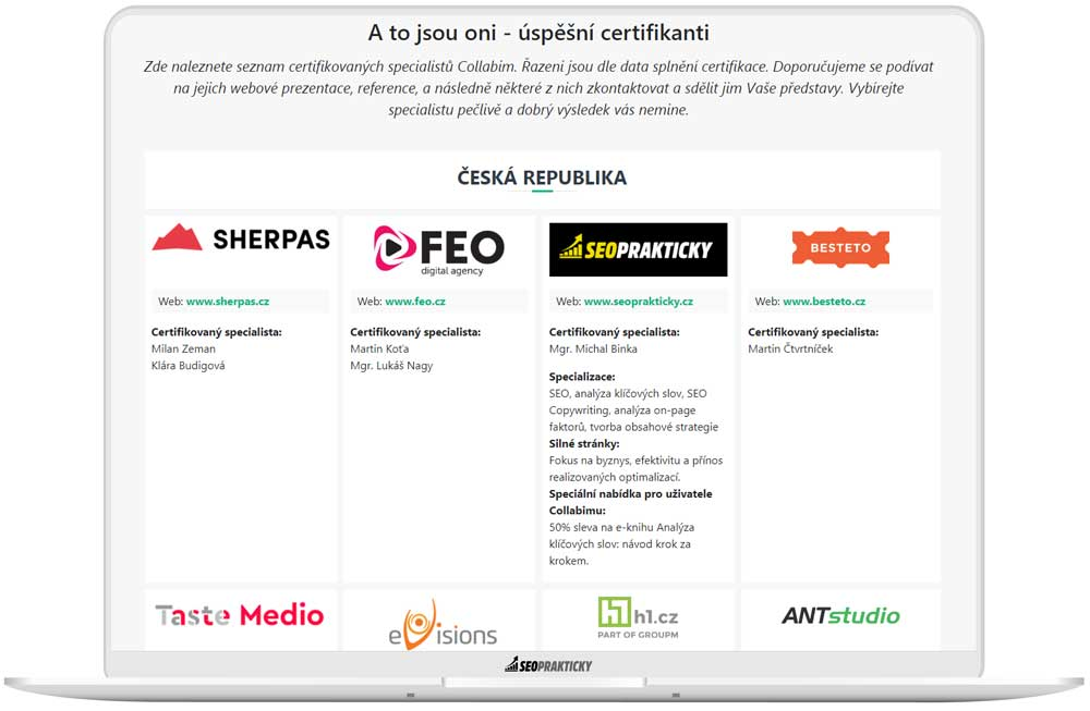 Katalog certifikovaných specialistů Collabim