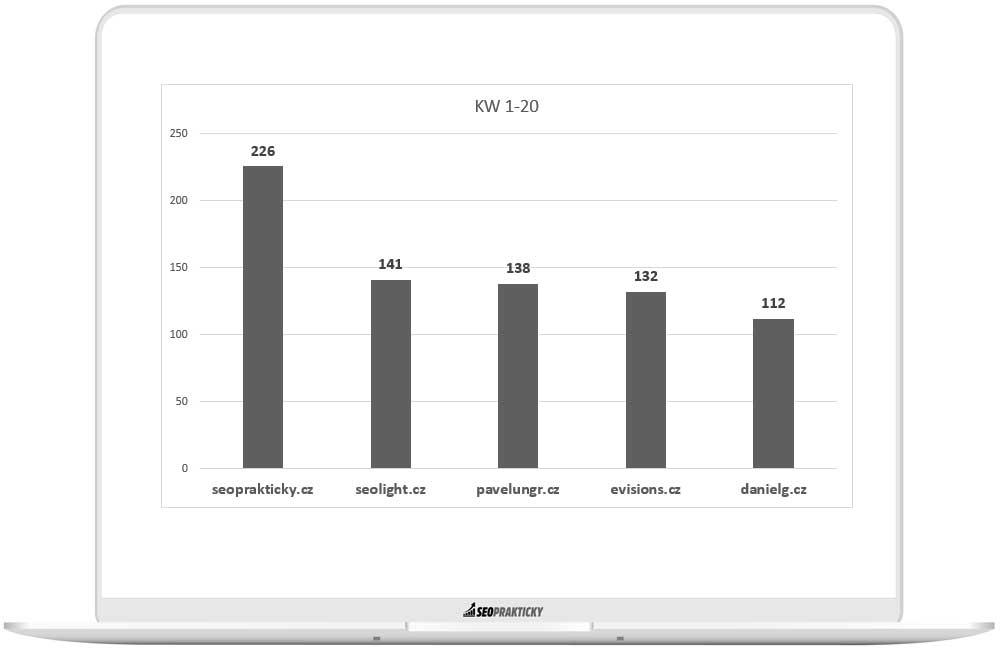 Stránky, které mají nejvyšší počet KW z datasetu rankovaných v TOP 20.