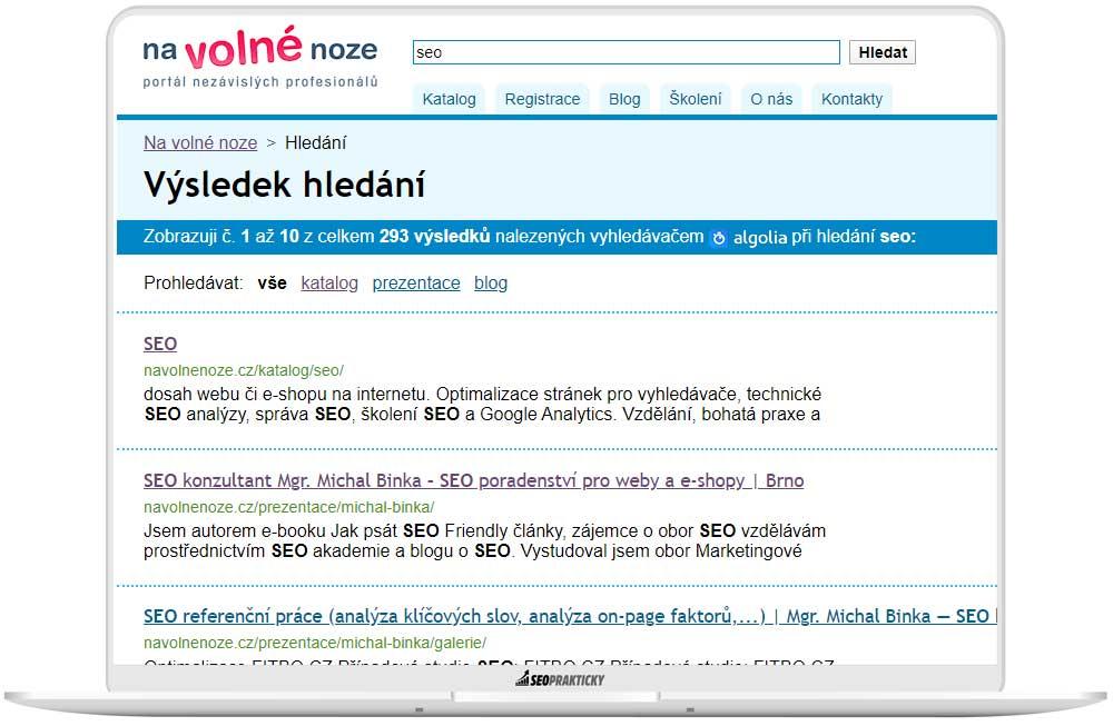 Výsledky vyhledávání výrazu SEO navolnenoze.cz